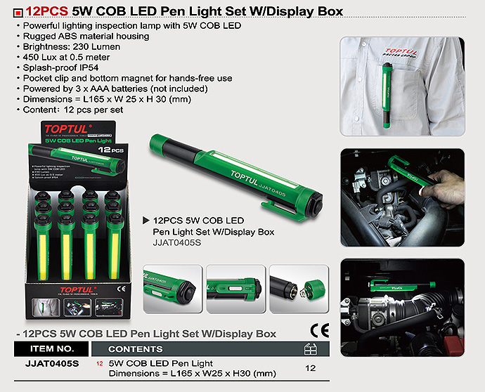 JJAT0405S1-265x250 12PCS 5W COB LED Pen Light Set W/Display Box - JJAT0405S