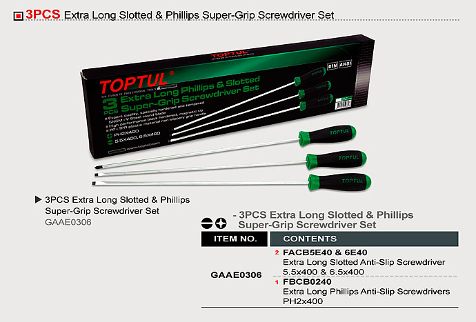 Extra Long Slotted Amp Phillips Super Grip Screwdriver