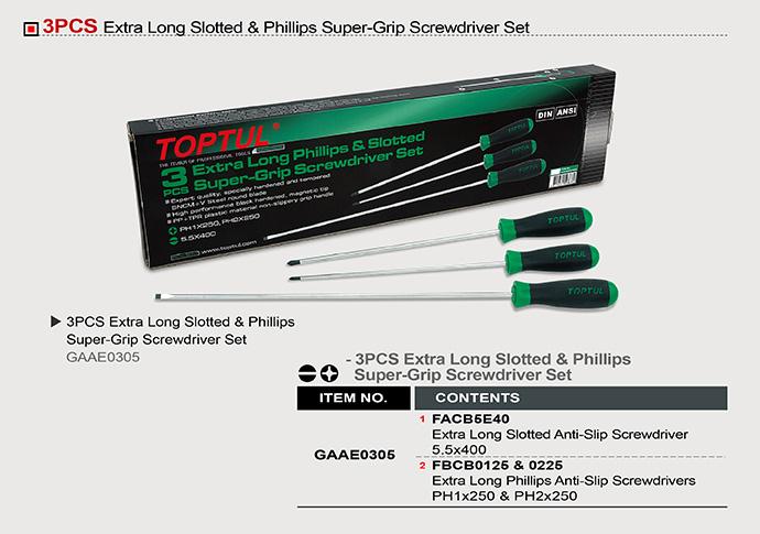 Extra Long Slotted Amp Phillips Super Grip Screwdriver Set