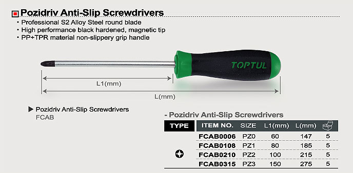 FCBB-185x160 Stubby Pozidriv Anti-Slip Screwdriver - FCBB