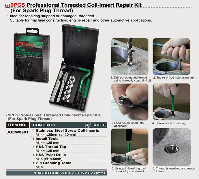 JGEW0901-291x250 9PCS Professional Threaded Coil-Insert Repair Kit (For Spark Plug Thread) - JGEW0901